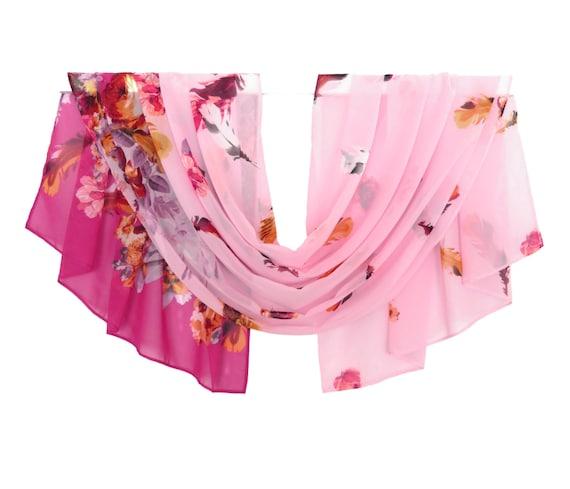 light pink scarf chiffon scarf print scarf by