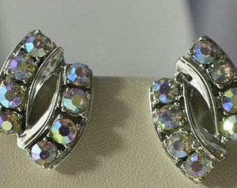 Vintage Earrings Aurora Borealis rhinestones silver Tone Clip on #Fashion button sparkly formal prom wedding jewelry mod retro