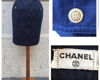 SALE -20% CHANEL - 80s Chanel Cotton Skirt SIze S