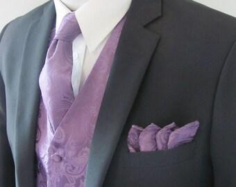 Mens Vest  Tone On Tone Satin Dusty Purple Lavender Paisley Vest Tie And Pocket Square Set