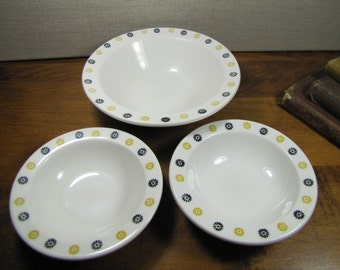 Homer Laughlin - Best China - Yellow and Black Flower Restaurant Ware Bowls - Set of Two (2) Dessert Bowls and One (1) Cereal Bowl