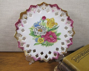 Red and Gold Accent Reticulated Plate - Flower Garden