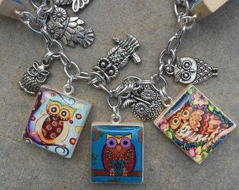 Owl Charm Bracelet, Owl Jewelry, Wise Old Owl, I Love Owls Bracelet, Bird Jewelry,