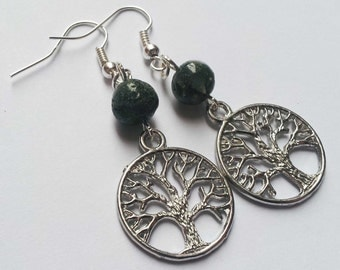 Tree Earrings , Tree Of Life , Tree Of Knowledge , Moss Agate Tree Earrings , Moss Agate Earrings , Handmade Gift , Wicca , Pagan , New Age