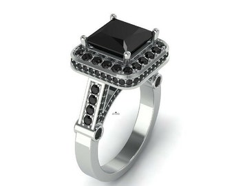 3.08ct Princess Cut Black Diamond Engagement ring in 925 Silver or White Gold 10K ,14K ,18K