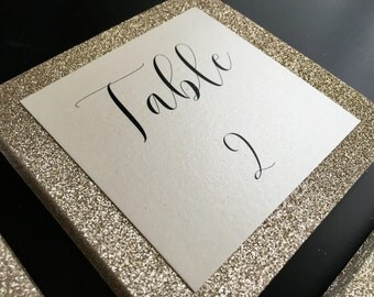 Gold Square Glitter Table Numbers // wedding and party table numbers