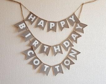 happy birthday banner, burlap happy birthday banner, happy birthday sign, birthday decor, happy birthday bunting, country Birthday Banner