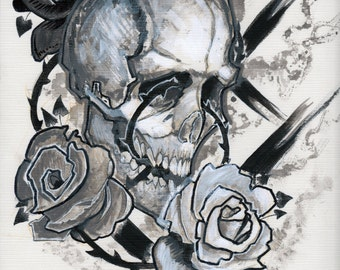 Skull and 3 roses