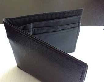 Black Leather Trifold Men's Wallet-- High Quality Feel & Design!