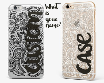 Transparent iPhone 7 Case Mandala iPhone 6 Plus Case Custom iPhone 5 Case Personalized iPhone 7 Plus Case Galaxy S7 Cover Name iPhone 5 Case