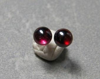4, 6, 8 & 10mm Garnet Gemstone Post Earrings with Sterling Silver