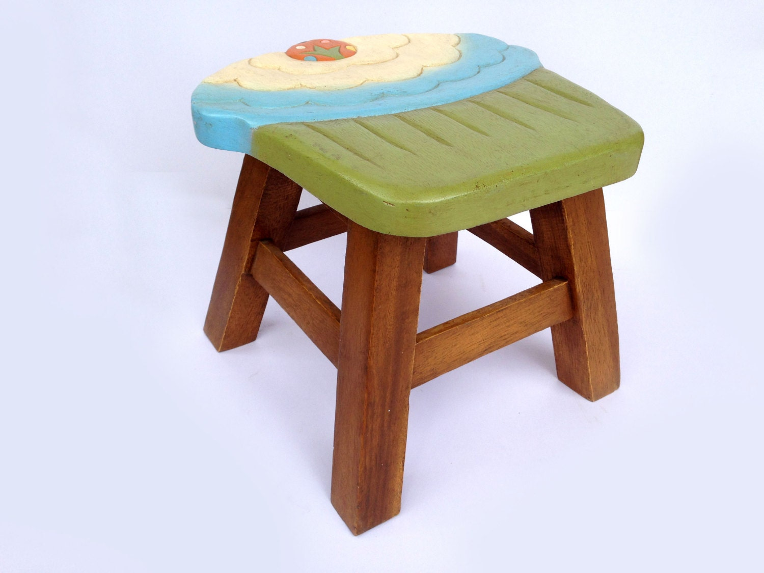Cupcake Stool Kids Stool Sitting Stool Hand Painted Wooden