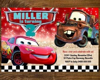 Disney Cars Birthday Invitation - Lightning McQueen