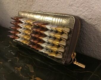 Spiked Bronze Wallet/Clutch