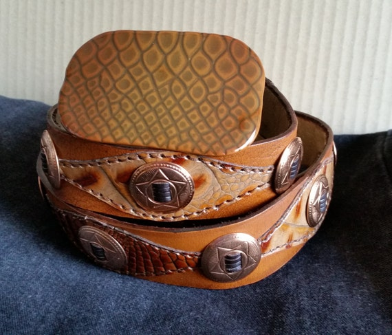 """REPTILE & COPPER CONCHO Belt 36""""-40"""" Tan Light Brown Leather, Handstitched Crocodile Print Leather, Enameled Lizard Buckle. Large Unisex."""