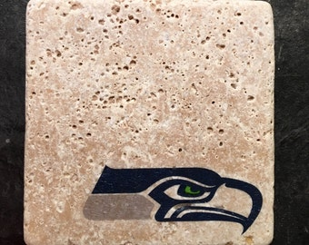 Seattle Seahawks Coasters ~  Set of 4 Stone Coasters ~Coasters ~ Natural Stone Tile Coasters ~ Football Coasters ~