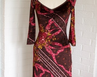 Vintage Red Printed Dress by Betsey Johnson