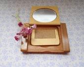 Wooden rectangular compact mirror handmade comb hairbrush