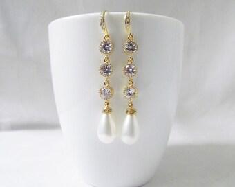 pearl wedding jewelry, long pearl wedding earrings,   pearl bridal earrings, pearl dangle earrings
