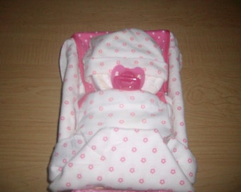 Sleeping/Napping Diaper Baby in a Bed/Basket Baby Shower Gift or Centerpiece