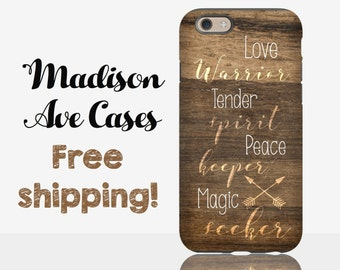 Phone Case Love Warrior Tender Spirit Peace Maker Magic Seeker Hippie Gypsy Cute Arrow Wood Samsung Galaxy Edge S4 S5 S6 S7 iPhone 4 5 6 6s