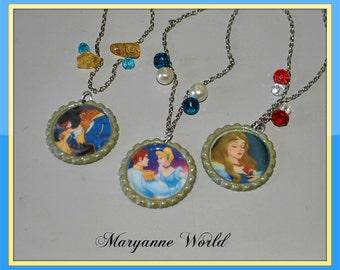 Disney princess necklace - Beauty and the beast - Cinderella - Sleeping beauty