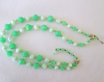Vintage West Germany Shades of Greens Multi Faceted Beaded Double Strand Necklace Silver Tone Metal