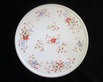 Vintage Japan Hand Painted Ceramic Cake Cookies Dessert Plate Yellow Blue and Orange Flowers Gold Trimmed