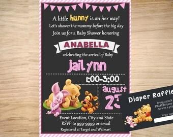 Winnie the Pooh Baby Shower Invitation - Winnie the Pooh Invitation - Winnie the Pooh Birthday Invitation - Free Diaper Raffle Card Included