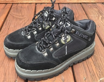 Free shipping vintage platform lace up black suede hiking shoes womens size US 9 mens size US 7