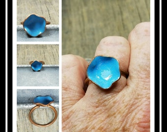 Copper Enamel Flower Ring/Blue Enamel  Flower Ring/Adjustable Band