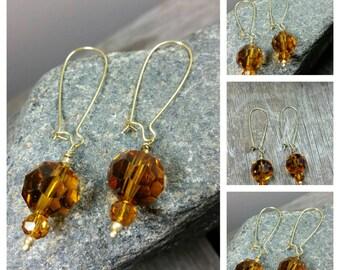 Czech Amber Glass Dangle Earrings
