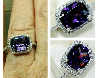 Beautiful 2 ct amethyst and white topaz sterling silver ring /size 8.5