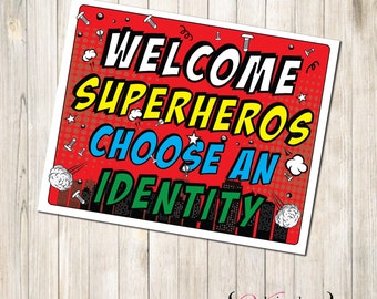 SuperHero Identity Sign, Super Hero Identity Sign, Superhero Identity, Super Hero Identity, Super Hero Sign, Superhero Sign, SuperHero Party