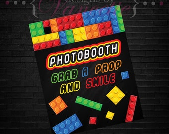 Building Block  Photo Booth Sign, Building Block  PhotoBooth Sign, Block Party Sign, Block Birthday party Sign, Block Party Photo Booth Sign