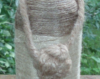 Jute Rope Wrapped Vase with Monkey's Fist