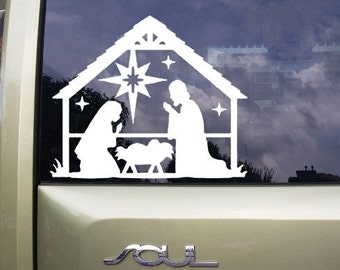 Nativity vinyl decal, Christian symbol, Macbook Pro sticker, Car decal, Christmas Mason Jar sticker, Laptop Vinyl Decal,  dcl211