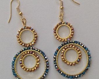Circle Gold Crystal Chandelier Earrings