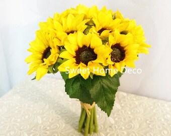 JennysFlowerShop 9''Silk Sunflower Artificial Flower Bouquet Wedding Flower
