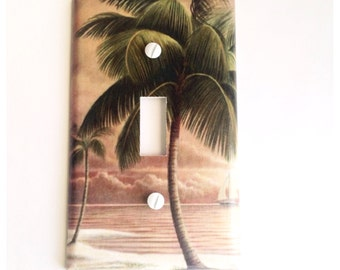 Palm Tree Light Switch Cover Outlet Single WallPlate Switch Plate