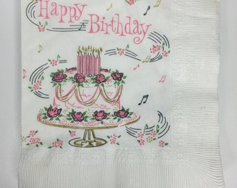 14 clean and unused vintage Happy Birthday napkins