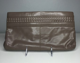vintage retro taupe clutch