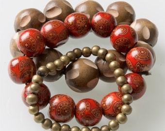 Wood, gold & red trio bracelet