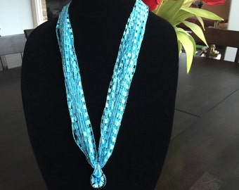 Turquoise Ladder Yarn Necklace with Pendant
