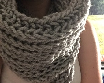 Foldover knit cowl scarf - black or gray