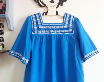 SALE! blue peasant blouse, white and navy embroideries, short sleeves / small - medium