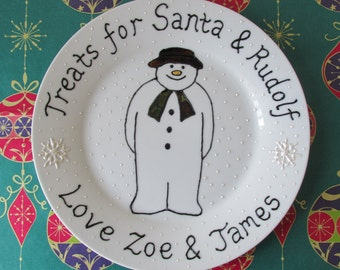 Personalised 'The Snowman' Christmas or Christmas Eve Plate. You choose the message and the names.