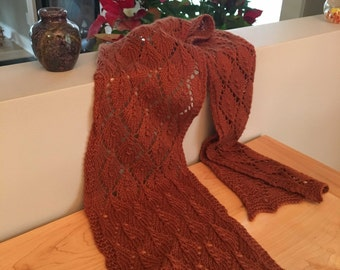 Organic Fall Colors Lace Scarf - Quick Knit Kit