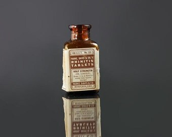 Brown Bottle, Park Davis, Rhinitis Tablets