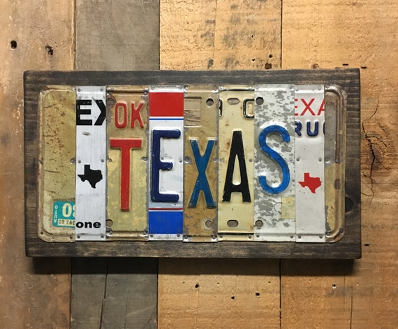 Texas license Plate Sign  License Plate Wall Art -FREE shipping! (Rustic Apple Art seen in Country Living Mag)